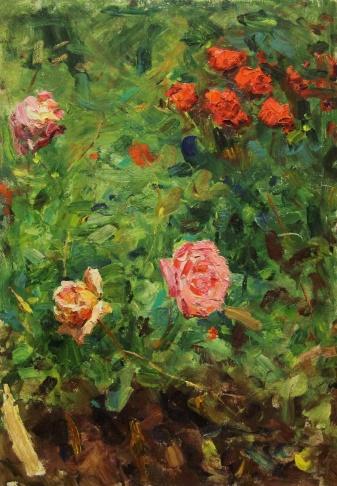 Розы на кусте. Никитский ботанический сад.