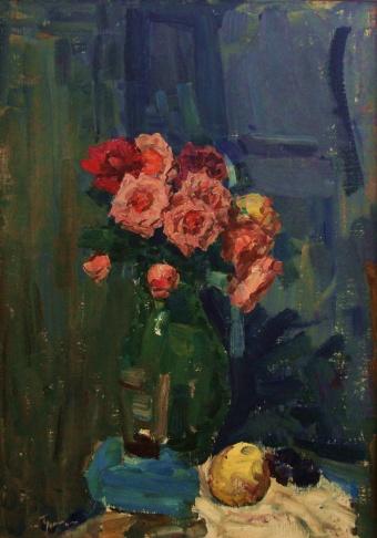 Розы. Вечерний натюрморт.