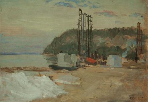 Вечер. Куйбышевская ГЭС.