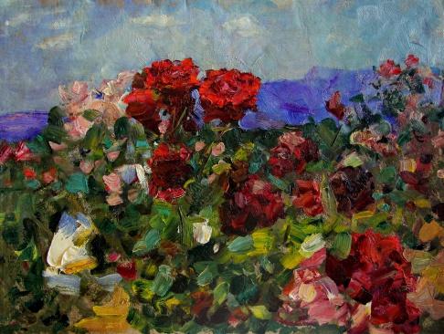 Куст алых роз
