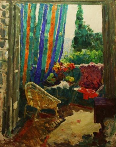 На балконе номера дома творчества художников им. К. Коровина в Гурзуфе