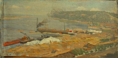 Утро на строительстве Куйбышевской  ГЭС