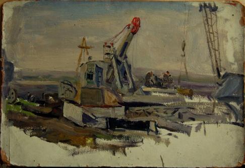 На стройке (Куйбышевская ГЭС)