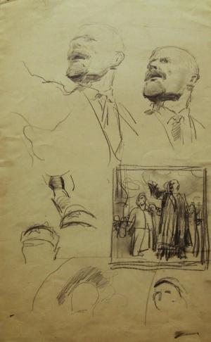 Эскизы для картины «Выступление Ленина на Красной площади»