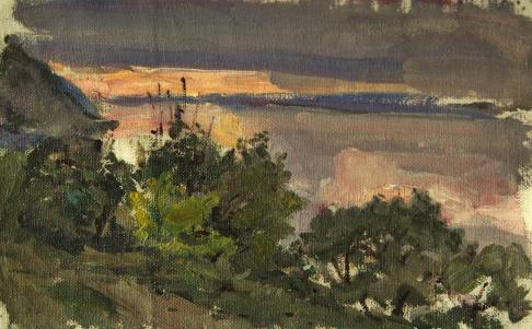 Закат на Волге. Вид с Жигулёвских гор.