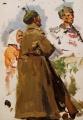 Эскизы красноармейцев и женщины