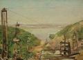 Пейзаж строительства Куйбышевской ГЭС