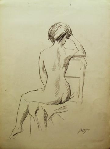 Обнажённая модель, сидящая спиной