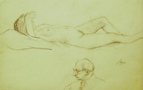 Лежащая обнажённая модель и голова мужчины