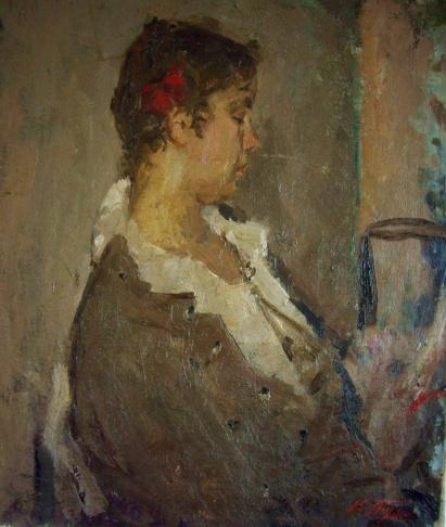 Девушка с красным бантом
