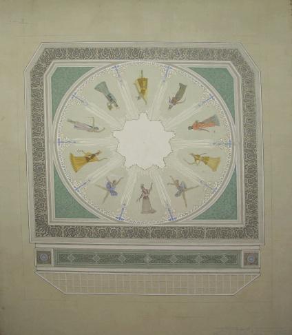Эскиз потолочного плафона театра оперы и балета им. Абая в Алма-Ате