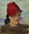 Женский портрет в красной шляпке