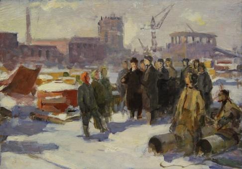 Эскиз к картине Лазарь Каганович на стройке