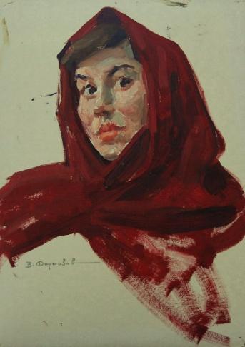 Девушка в красном платке