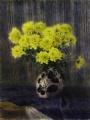 Хризантемы на синем фоне