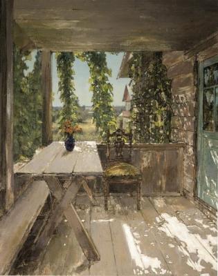 Владимир Малагис «На балконе»  1959 г. Холст, масло. 100х80 см. Частное собрание.