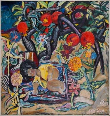 Т. Нариманбеков «Натюрморт с девочкой»  Холст, масло. 1968 г. Государственный музей Востока