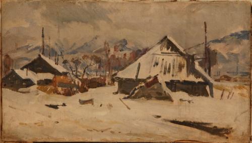 Н.П. Толкунов  «Южный Сахалин. Зима.»  х.м.  33х58 см. 1946 г.