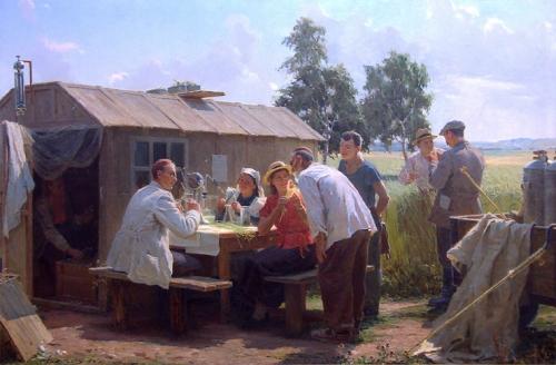 Лотфулла Фаттахов.  У выездной лаборатории. Холст, масло. 1954 г.  Гос. музей изобразительных искусств республики Татарстан.