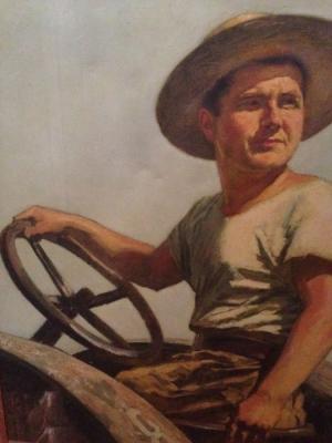 Владимир Малагис «Портрет тракториста» 1932 г. Холст, масло. 100х80 см