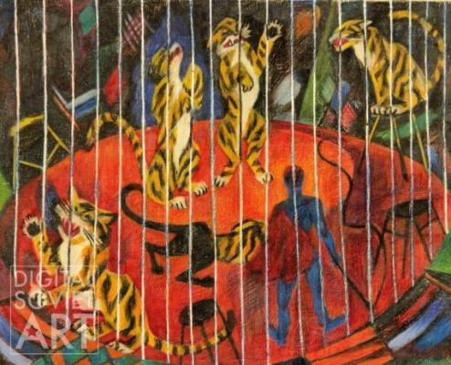 Татьяна Алёшина «Тигры» Бумага, пастель. 43x53 см 1980 г.