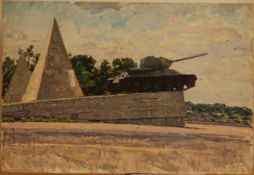 Н.П. Толкунов «Монумент с танком» к.м.  50х70 см  1970-е гг.