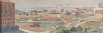 Николай Фёдорович Бароха «Панорама Сталинграда» 1960 г. Картон, масло 12,3х34,8 см
