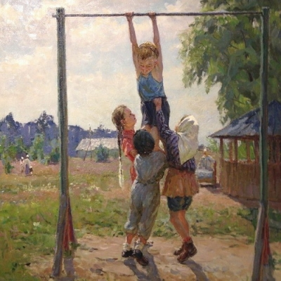 М.Г. Богатырёва «Будущие чемпионы»  х.м. 1957 г.