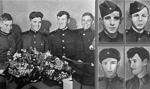 Рядовой Филипп Поплавский,Рядовой Анатолий Крючковский (верхний ряд справа) Мл. сержант Асхат Зиганшин, Рядовой Иван Федотов (нижний ряд справа)