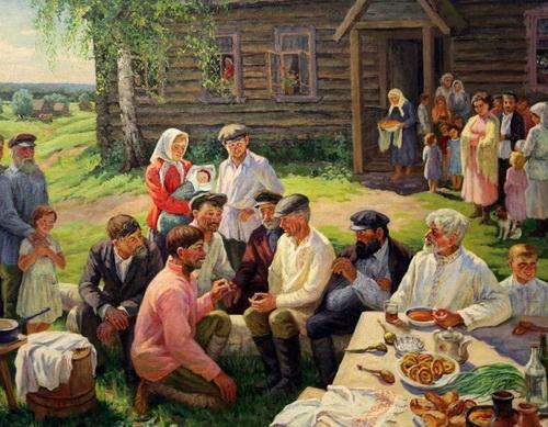 М.Г. Богатырёв «Первый праздник в колхозе»   х. м. 145х115 см  1967 г.