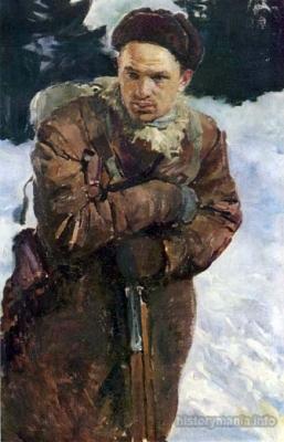 Серебряный И. А. «Портрет командира партизанского отряда И.Г. Болознева». 1942 г.