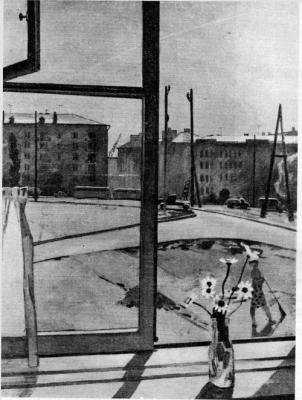 Владимир Михайлович Клёнов. Рабочее утро. Xолст, масло. 1963 г. (Репродукция из журнала «Художник» № 6, за 1964 г.)