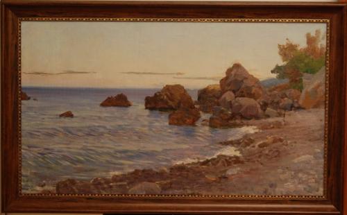 Н.П. Толкунов  «Чеховский пляж» х.м.  55.7х96.5 см. 1955 г.