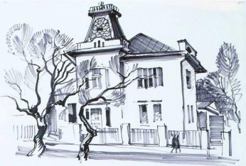 С.Т. Куксов «Старинный домик» 1971 г., бумага, фломастер, 42х58 см