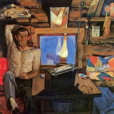 Вячеслав Самарин «Поёт Анна Герман» Левая часть диптиха «Не пройдёт и полгода…» ДВП, масло. 1978-1979 гг.