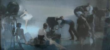 Ильяс Нуретдинович Нурмухаметов «На телестудии» 1960-е гг. Картон, пастель. 41.9х91.5 см  Удмуртский республиканский музей изобразительных искусств.