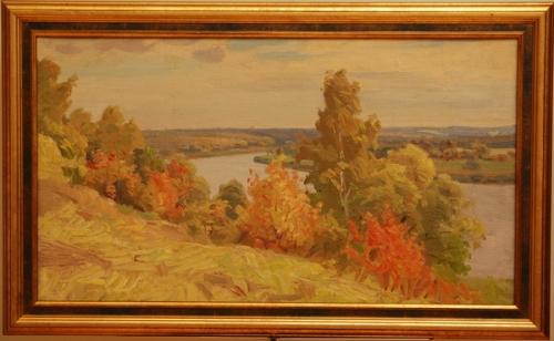Н.П. Толкунов   «Ока. Сентябрь.»  х.м. 38.5х66 см. 1956 г.