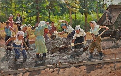 М.Г. Богатырёв «Строительство МКАД»  Холст, масло. 75 × 120 см  1958 г.