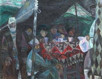 Олег Александрович Вуколов «В гостях» 1971 г. Холст, масло. 145х110 см  Тульский музей изобразительных искусств.