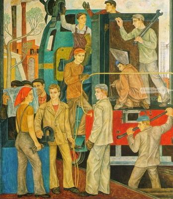 Виктор Ни «Тепловозоремонтники» 1974 г. (оргалит, левкас, темпера, Оренбургский областной музей изобразительного искусства)