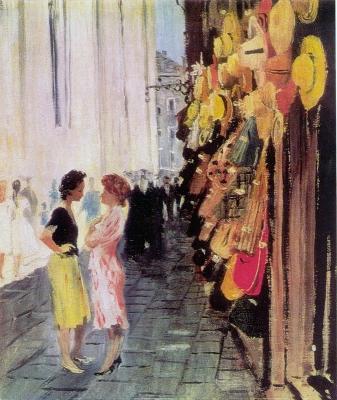 Юрий Пименов. Лавка соломенных шляп. Венеция. 1958 г.