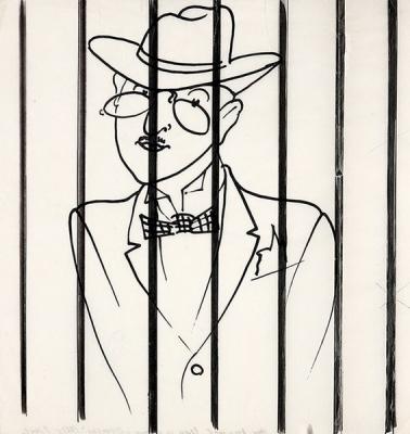 Акимов Николай Павлович «Писатель в клетке» Иллюстрация к книге «О театре», 1962 г.