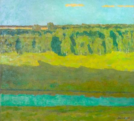 Ефрем Зверьков  «Свет вечерний» Холст, масло. 90,2х100,3 см  1987 г.