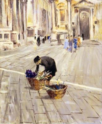 Юрий Пименов. Одинокая продавщица цветов. Венеция. 1958 г