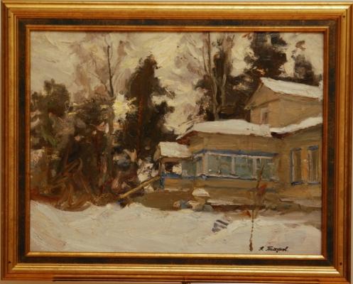 Н.П. Толкунов  «Академическая дача» к.м.  38х50 см. 1947 г.