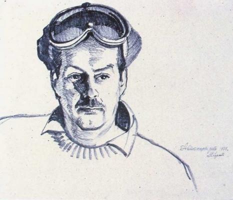 С.Т. Куксов «Автопортрет» бумага, фломастер,36х51 см