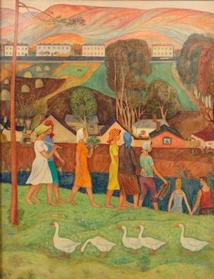 Виктор Ни «Возвращение с поля» оргалит; масло; левкас, 1969 г. Пермская художественная галерея