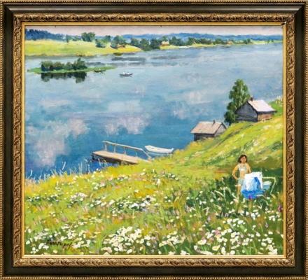 М.Г. Богатырёв «На берегу реки» Картон, масло. 44 Х 50 см  1975 г.