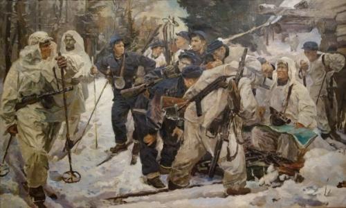 Серебряный И. А. «Партизанский отряд» Холст, масло. 205 х 340 см 1942 г.  ГРМ