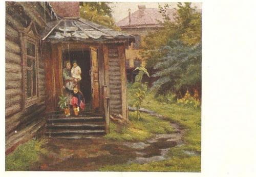Открытка с картины М.Г. Богатырёва «Дождик»